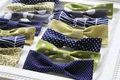 "bow tie tutorial....no sew option  try size of 5'' x 9"" rectangle for baby boy.. possibly try smaller for 6 months and younger.  maybe size 6in x 11 for adult?  Tip: use matching thread color to wrap around bow and tie off before putting on center strip."