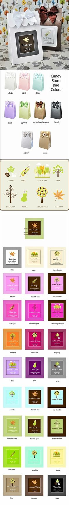 Stylish Autumn-Themed Personalized Candy-Store Bags (Set of 12)