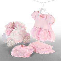 Princess baby layette and bib gift set.