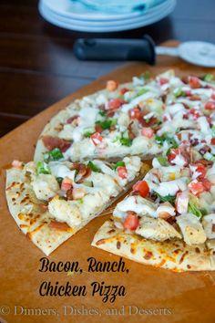Bacon, Ranch, Chicken Pizza  #HiddenValleyIt