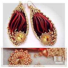 Shibori earrings, embroidery earrings, delica gold beads, swarovski earrings