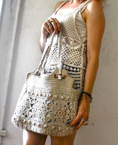 Linen Hand Crocheted Granny Chic Bag/Purse Bohemian Sand Large