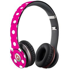 White Polka Dot on Hot Pink Decal Skin for Beats Solo HD Headphones by Dr. Dre by Skinzy, http://www.amazon.com/dp/B00CUFLXN6/ref=cm_sw_r_pi_dp_w524rb1JR03QP