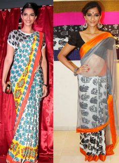 Quirky and Crazy Saree Prints : the new rage trending this season | Sonam Kapoor in Quirky print saree  http://www.feminiya.com/trending-crazy-quirky-sari-prints/