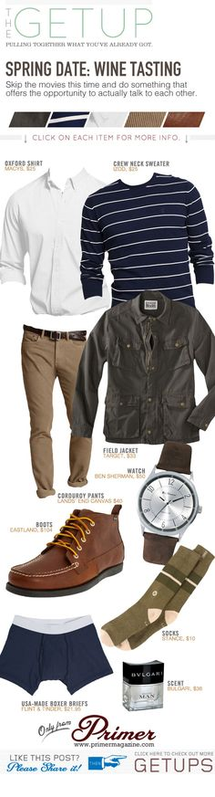 The Getup: Spring Date – Wine Tasting - Primer; But this outfit is something I could do! Mode Masculine, Cool Outfits, Casual Outfits, Men Casual, Casual Wear, Look Fashion, Mens Fashion, Fashion Outfits, Mode Man