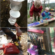 outdoor activites: yogurt cup waterfall, outdoor painting and music