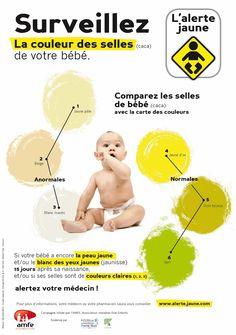 l'alerte jaune bien détaillée avec la carte colorimétrique des selles des bébés pour comparer.