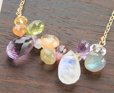 Moonstone Amethyst Necklace, Semi Precious Stone Jewelry, Multi Gemstones
