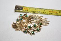 Green AB Rhinestone Brooch Vintage 1950s Jewelry by patwatty, $8.00