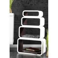 Retro design floating shelves in white and brown 4pcs wooden shelving unit - www.neofurn.co.uk