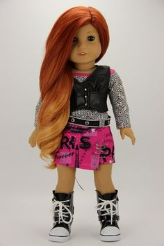 Handmade 18 inch doll clothes - Black and hot pink 4 piece punk style outfit Punk Fashion, Fashion Outfits, All American Girl Dolls, Wellie Wishers, Doll Outfits, Vest Pattern, Pattern Ideas, Girl Doll Clothes, 18 Inch Doll