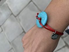 TURQUOISE BRACELET WITH RED ADJJUSTABLE STRAP Green Turquoise, Turquoise Jewelry, Gemstone Jewelry, Turquoise Bracelet, Game Of Thrones Episodes, New Moon, Stones And Crystals, Crystal Healing, The Balm