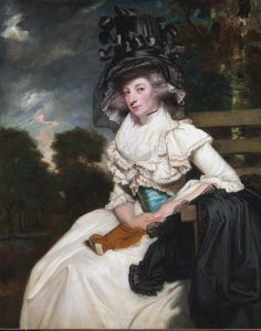 The Honorable Mrs. Lewis Thomas Watson (Mary Elizabeth Milles), 1789, by Joshua Reynolds. Mrs. Lewis Thomas Watson was the only daughter and heiress of Richard Milles.  The white muslin dress and black satin hat were the height of fashion.