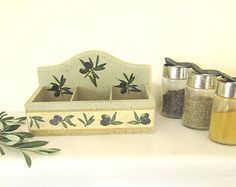 Rustic olive green wooden herbs rack , retro decoupaged  olive branch herbs or spices organizer with the symbol of peace , MADE TO ORDER