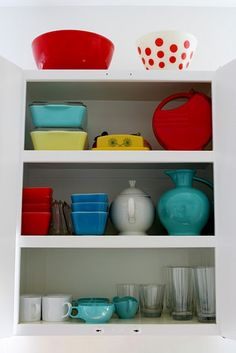 Metal cabinets with fun dishes