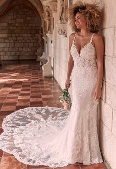 It's all about the layers in this sexy, romantic, and almost-fit-and-flare beaded sheath bridal dress. If you're a fan of lace, there's really no need to keep scrolling. Designer Wedding Dresses, Bridal Dresses, Flower Girl Dresses, Prom Boutiques, Bridal Closet, Blush Gown, Maggie Sottero Wedding Dresses, Wedding Gowns, Wedding Dress Pictures