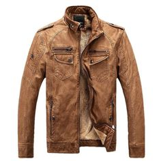 Mens Winter Leather Jacket available in 2 colors Blue/ Brown