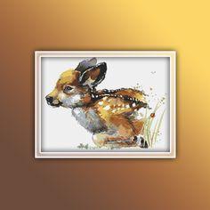 Deer Cross Stitch Pattern 1 Instant PDF Download - Deer Watercolor Cross Stitch Pattern - Animal Cross Stitch Pattern Deer Crossing, Watercolor Fox, Star Stitch, Dmc Floss, Extra Fabric, Photo Tips, Cross Stitch Patterns, Free Images, Unicorn
