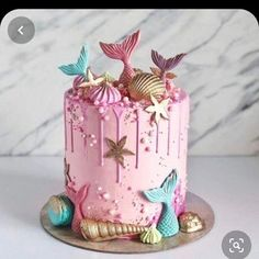 Little Mermaid Cakes, Mermaid Birthday Cakes, Cute Birthday Cakes, Beautiful Birthday Cakes, Girl Birthday, Birthday Parties, Birthday Cakes Girls Kids, Birthday Ideas, Mermaid Party Favors