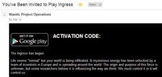 #Ingress Activation Code Email