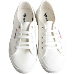 Superga Womens White Canvas Lace Up Sneakers (€39) ❤ liked on Polyvore featuring shoes, sneakers, footwear, flats, lace up sneakers, flat shoes, superga sneakers, canvas flats and lace up flats