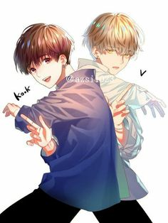 Taekook vkook fanart uploaded by 살리 on we heart it Vkook Fanart, Fanart Bts, Jungkook Fanart, Taekook, V Chibi, Anime Chibi, Bts Anime, Anime Boys, Anime Angel