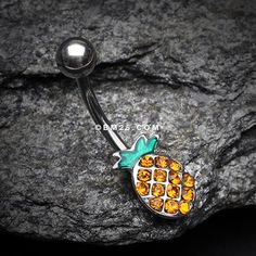 Juicy Sparkle Pineapple Belly Button Ring-Yellow
