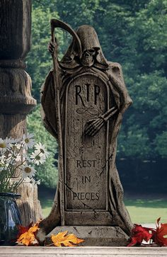 Rest in Pieces Grim Reaper Halloween Tombstone Gothic Decor. GRIM REAPER TOMBSTONE STATUE is a grim reminder that's more trick than treat! Greet guests with a ghoul hovering over the grave with a scythe in his bony hands. Halloween Prop, What Is Halloween, Halloween Tombstones, Halloween Graveyard, Outdoor Halloween, Halloween Design, Halloween Cast, Gothic Halloween Decorations, Halloween Diorama