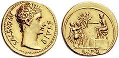 Octavian as Augustus  32BC-29AD AV Aureus ND 15/13BC Lugdunum Mint