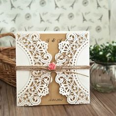 affordable pink paper flower rustic laser cut invitations EWWS051