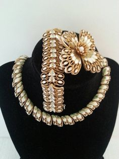 Vintage Vendome Gold & Ivory Enamel Necklace by MartiniMermaid