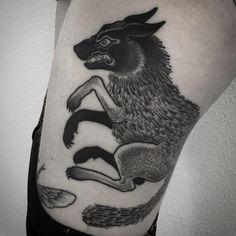 Gorgeous wolf, Blackwork Tattoo By Laura Yahna
