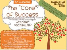 *5th Grade Set*Did you know that researchers have found that 85% of of achievement scores are based on the vocabulary of the standards? This is a startling number, especially since the new Common Core Standards, the Common Core State Exams, and the P.A.R.C.C.