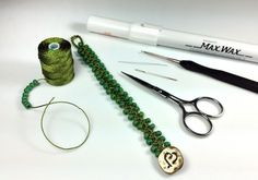 Supplies for the Turkish Flat Bead Crochet Bracelet Tutorial with C-Lon Tex 400 Bead Cord