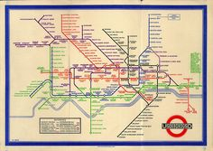 Harry Beck's iconic London Underground map, which has been in use continuously since 1933, is in fact a diagram of the network. It shows relationships rather than distances to scale and uses only vertical, horizontal and diagonal lines, with different colours for each of the Tube lines