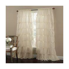 "Cream 63"" Long Gypsy Shabby Chic Ruffled Window Curtain Panel"