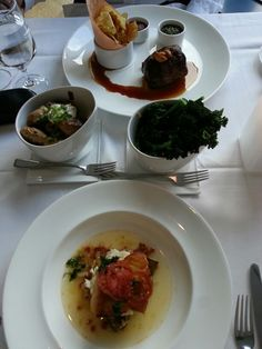 Sablefish & 10oz Striploin with baked fingerlings and chili and garlic broccolini #oru