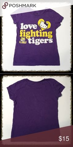 ❎3/$15 Hello Kitty LSU Tee Shirt Hello Kitty LSU Tee Shirt. Purple love fighting tigers LSU T-shirt. 🐶Bundle 3 $10 items for $15. Add them to a bundle, offer $15, & I will accept. 🐶 Hello Kitty Shirts & Tops Tees - Short Sleeve