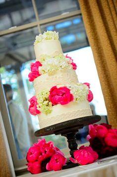 Lace Pattern, Hydrangeas & Red Roses Wedding Cake