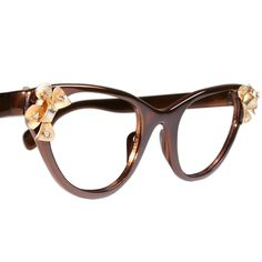 Brown and Gold Tura Cat Eye Glasses. $145.00, via Etsy.