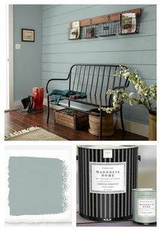 Find out what colors are Joanna Gaines' 2018 paint color picks and where she thi., Find out what colors are Joanna Gaines' 2018 paint color picks and where she thinks we are heading in color. Featuring colors from Joanna's Magnolia H. House Colors, Bedroom Paint Colors, Decor, Magnolia Homes Paint, Painting Shiplap, Magnolia Homes, House Painting, Farm House Living Room, Home Decor