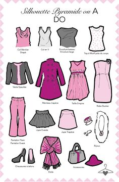 My Personal Wardrobe : Silhouette Pyramide en A, DO Silhouettes Féminines, Dressing Your Body Type, Fashion Infographic, Pear Body, Basic Outfits, Summer Outfits, Fashion Mode, Body Shapes, Dress Codes