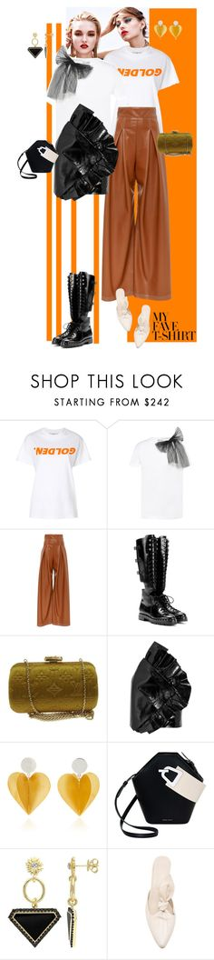 """""""BFF T"""" by ladyarchitect ❤ liked on Polyvore featuring Golden Goose, RED Valentino, Valentino, Louis Vuitton, Yves Saint Laurent, Danse Lente, Versace 19•69 and MyFaveTshirt"""