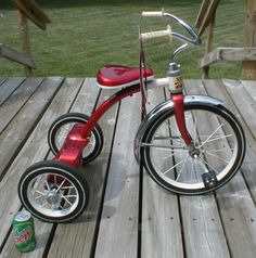 vintage Red Ranger TRICYCLE ride on toy Larger Size shiny bright Marvelous used condition 13in front tire 1960s Pk Up Chicago or IN Oh Ky Tn on Etsy, $175.00
