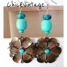 Turquoise Jasper Boho Earrings Hand painted wood beads. Turquoise Jasper and distressed brass flowers. I design pieces that I love wearing and are a unique fashion statement with any outfit. ChicEVintage Jewelry Earrings