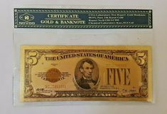 1928 5$ Five Dollar Bill Reserve Note Gold Clause Certificate Gold Foil >C999 Twenty Dollar Bill, Gold Foil, Certificate, Notes, Pure Products, Ebay, Art, Art Background, Report Cards