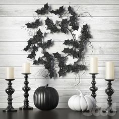 Halloween wreath black and white