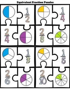 Math Center: Equivalent Fraction Puzzles FREE Math Center: Equivalent Fraction Puzzles by Chalkboard Creations Teaching Fractions, Math Fractions, Teaching Math, Math Math, Dividing Fractions, 3rd Grade Fractions, Guided Math, Kindergarten Math, Fraction Activities