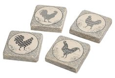 One Kings Lane - Breezy Accents - Rooster Coasters, Asst. of 4
