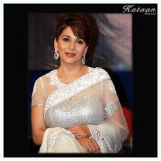 The gorgeous #Madhuri Dixit in a beautiful White saree